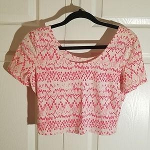 Decree Crop Top Pink and White